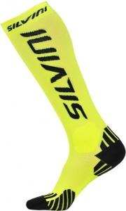 Kompresný podkolienky Silvini Casalone UA562 reflective yellow-black