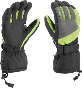 Rukavice LEKI Flims S Junior Boy charcoal-lime-black 634-88011