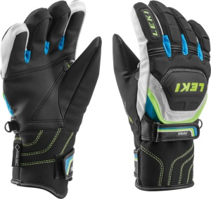 Rukavice LEKI Worldcup Race Coach Flex S GTX Junior black-white-cyan-yellow 634-80131