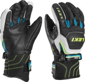 Rukavice LEKI Worldcup Race Flex S Junior black-white-cyan-yellow 634-80041
