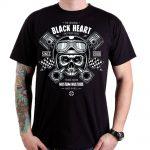 BLACKHEART Piston Skull čierna - L