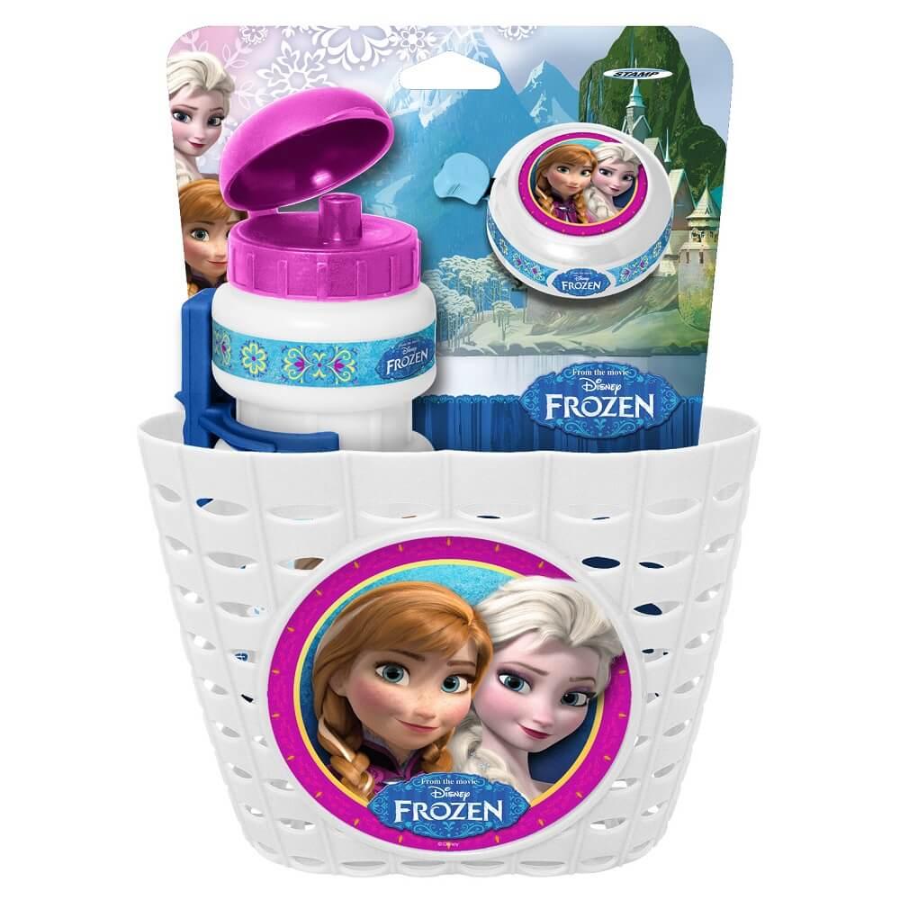 Frozen Cyklistická sada Frozen (košík, láhev, zvonek) – bílá