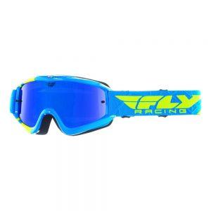 Fly Racing RS Zone modré/žlté fluo, zrkadlové/modré plexi s čapmi pre trhačky