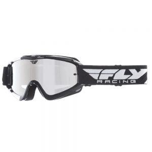 Fly Racing RS Zone čierne/biele, zrkadlové plexi s čapmi pre slidy
