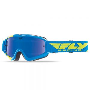 Fly Racing RS Zone Youth modré/žlté fluo, zrkadlové/modré plexi s čapmi pre slidy